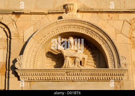 croatia, kvarner, rab island, old town, cathedral of st mary the great, romanesque church, pieta of the 16th century - Stock Photo