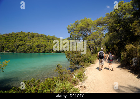 croatia, dalmatia, mljet island, malo jezero lake, people walking along coastal path - Stock Photo