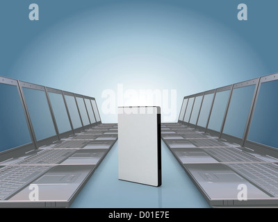 Laptop corridor with DVD software case , space for you text or photo on the cover - Stock Photo