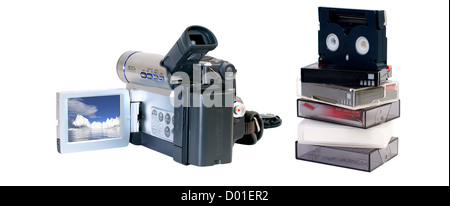 Video camera with minidv tapes for recording - Stock Photo
