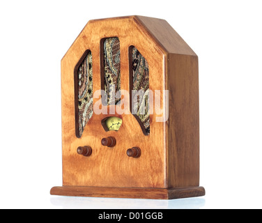 Beautiful old wooden radio on a over white background - Stock Photo