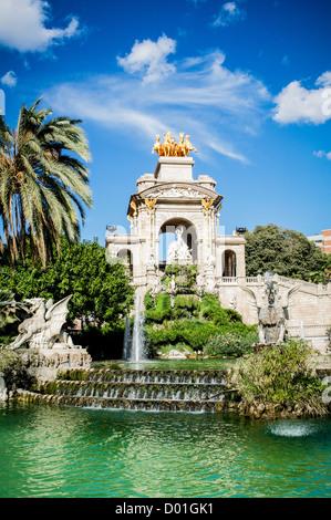 Cascada Fountain in Parc de la Ciutadella in Barcelona, Spain. Built 1888 Universal Exhibition, young Antoni Gaudi - Stock Photo