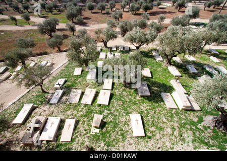 View from the Mount of Olives on Christian graves in Jerusalem. - Stock Photo