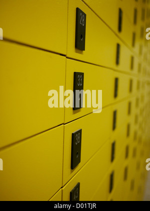 yellow private mail boxes at a post office in Croatia - Stock Photo