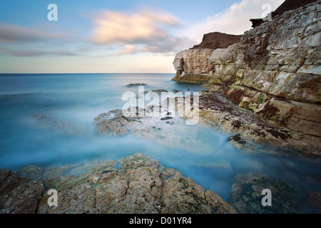 Thornwick Bay, Flamborough Head, Yorkshire, Long Exposure - Stock Photo