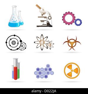 illustration of lab icons on white background - Stock Photo