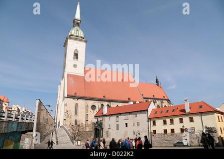 St. Martin's Cathedral viewed from Rybné námestie Square , Bratislava, Slovakia. - Stock Photo