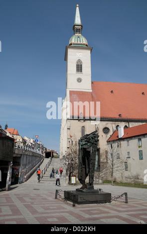 St. Martin's Cathedral with the Memorial of Holocaust Victims, Rybné námestie Square , Bratislava, Slovakia. - Stock Photo