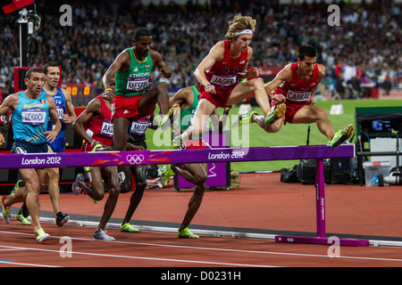 Men's steeplechase action at the Olympic Summer Games, London 2012 - Stock Photo