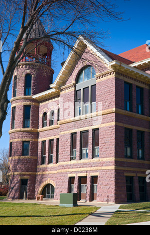 Rock County Courthouse in Luverne Minnesota of Richardsonian Romanesque Revival style and constructed of Sioux quartzite - Stock Photo
