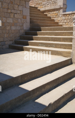 outside stairs at Empuries in Girona Catalonia Spain - Stock Photo