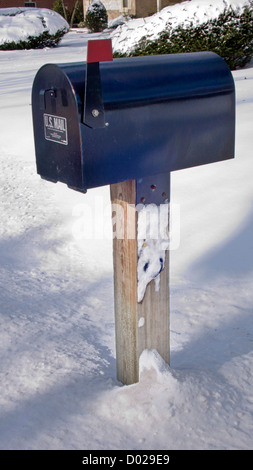 black us mail mailbox with flag raised signalling mail usa Stock