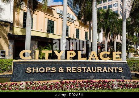 Entrance to the Cityplace development, South Rosemary Avenue, West Palm Beach, Treasure Coast, Florida, USA - Stock Photo