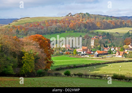 Bucks - Chiltern Hills - view over fields  to Fingest hamlet - sheltered by wooded hillsides - autumn sunlight and - Stock Photo