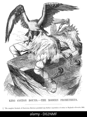 King Cotton Bound the modern Prometheus. Political cartoon about blockade of Charleston Harbour during the American - Stock Photo