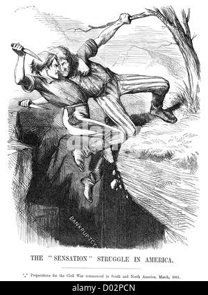 Vintage engraving from 1864 of a political satirical cartoon depicting the outbreak of the American Civil War. - Stock Photo