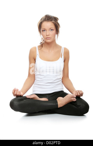 woman doing yoga pose  easy pose sanskrit name
