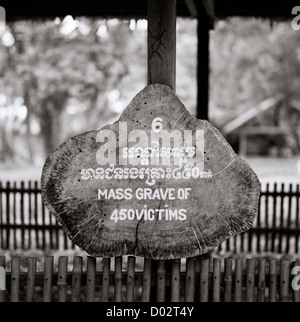 Mass grave at Killing Fields Choeung Ek in Phnom Penh in Cambodia in Far East Southeast Asia. Genocide History Museum - Stock Photo