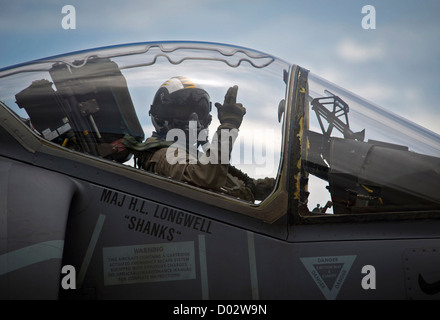 A US Marine pilot waves from the cockpit of an AV-8B Harrier jet aircraft September 19, 2012 on the flight deck - Stock Photo