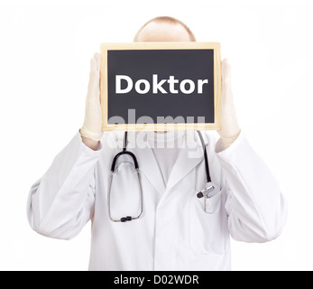 Doctor shows information on blackboard: doctor - Stock Photo