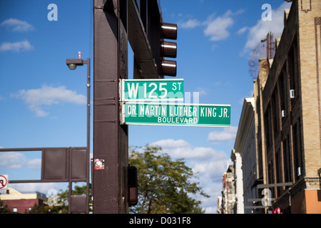 Dr Martin Luther King Junior Boulevard sign in Harlem, New York - Stock Photo