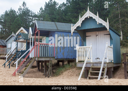 Beach huts, Wells-next-the-Sea, North Norfolk, UK - Stock Photo