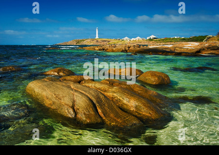 Lighthouse at the tip of Cape Leeuwin. - Stock Photo