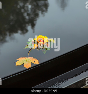 A floral tribute floating on the pond of the Memorial to Roma (Gypsy) Nazi Holocaust victims in the Tiergarten Park, - Stock Photo