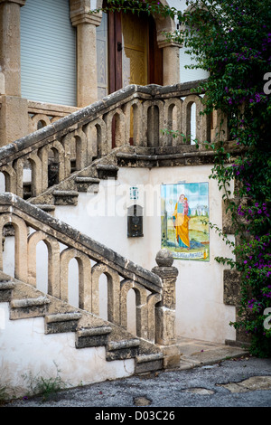 A set of classical steps leading to a residential house in Port Javea, Spain. - Stock Photo