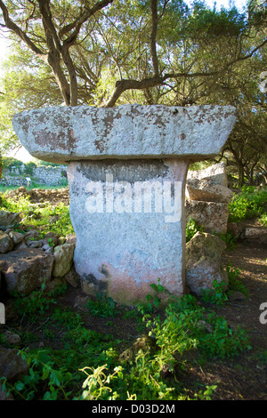 prehistoric talaiot monument at Menorca Island in Spain - Stock Photo