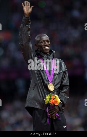 Ezekiel Kemboi (KEN) gold medal winner in the Men's 3000m Steeplechase Olympic Summer Games, London 2012 - Stock Photo