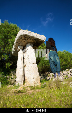 prehistoric talaiot monument at Menorca Island in Spain - Stock Photo