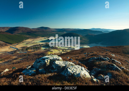 Braemar and the River Dee from the Corbett of Morrone, Aberdeenshire - Stock Photo