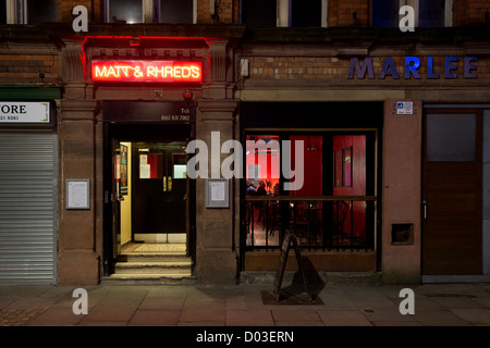 External shot of entrance of Matt and Phreds jazz bar on Tib Street in the Northern Quarter, Manchester. - Stock Photo
