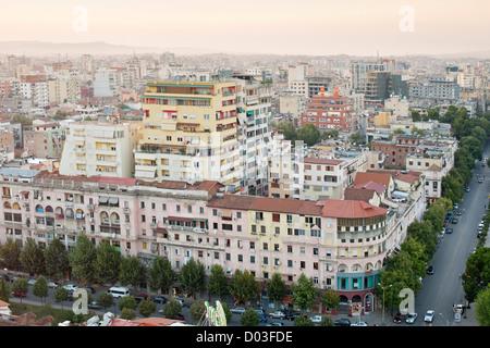 View across the city of Tirana, the capital of Albania. - Stock Photo