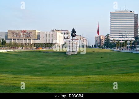 Skanderbeg Square and the Skanderbeg monument in Tirana, the capital of Albania. - Stock Photo