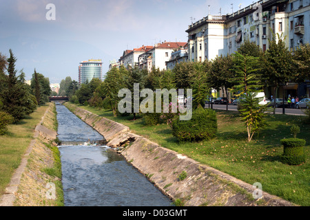 The Lana 'river' in Tirana, the capital of Albania. - Stock Photo