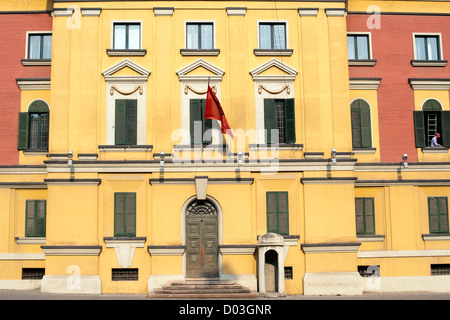 Administrative building in Tirana, the capital of Albania. - Stock Photo