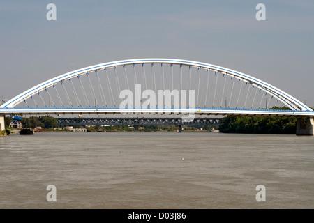 Apollo Bridge spanning the Danube River in Bratislava, the capital of Slovakia. - Stock Photo