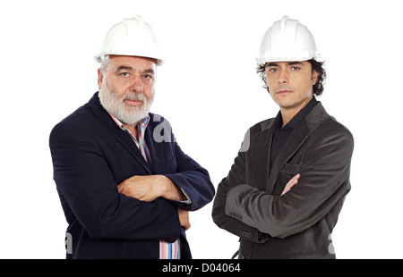 Couple of architect on a over white background - Stock Photo