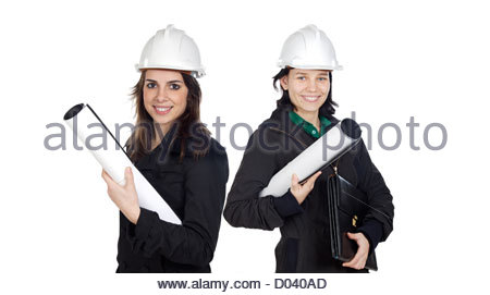 Team of women architects isolated over white - Stock Photo