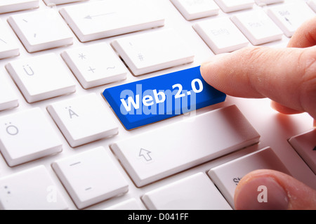web 2 0 rss or blog concept with internet computer key on keyboard - Stock Photo