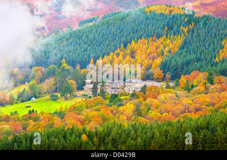 View from Latrigg of the Grade II-listed Underscar Manor in autumn, Keswick, Lake District, UK - Stock Photo
