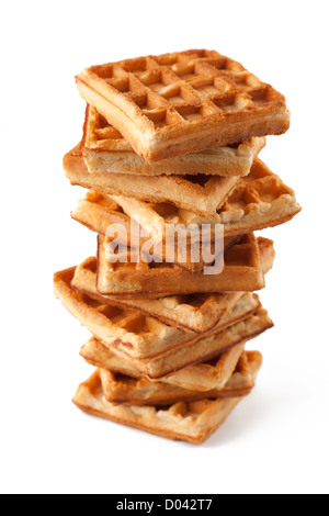 Big pile of fresh Belgian waffles on a white background - Stock Photo