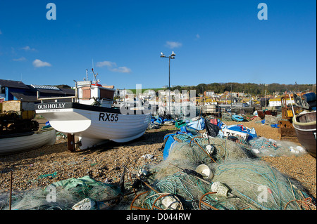 Fishing boats on the Stade in Old Hastings. - Stock Photo