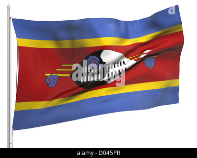 Flying Flag of Swaziland - All Countries Collection. Flag, flagstaff isolated image on white - Stock Photo
