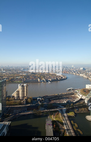 View from Canary Wharf across The River Thames looking towards the City of London, England, UK - Stock Photo