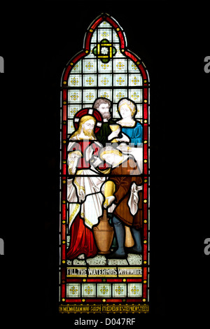 Church Stained Glass Window Depicting Jesus and Others UK - Stock Photo