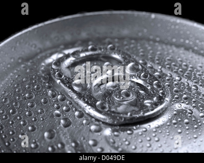 Closeup shot from the pull ring on a beverage can. - Stock Photo