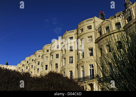 Regency style terraced houses mostly turned into flats in Brunswick Square Hove Brighton East Sussex UK - Stock Photo